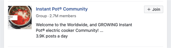 Instant Pot Community Facebook Group with 2.7 million members