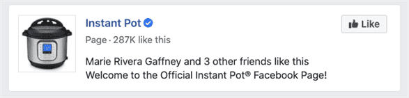 Instant Pot Official Brand Facebook page with 287K likes