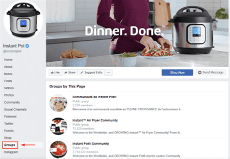 Instant Pot Facebook Group created from Page