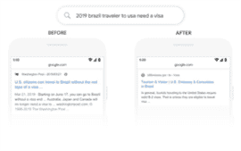 Two different Google search results for the same query about travel visas