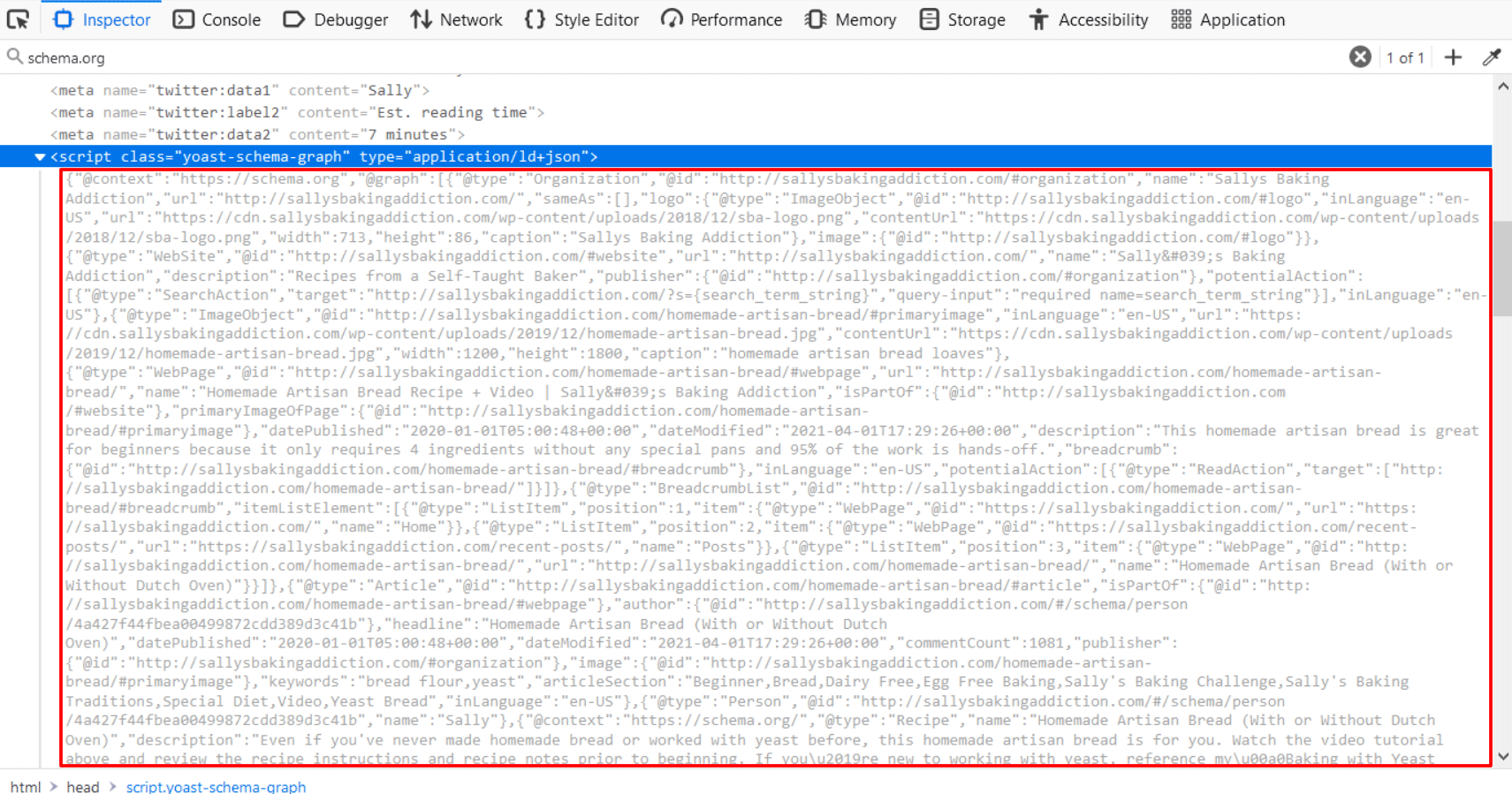 A web page's sourced code, with a large block of text consisting of Schema markup outlined by a red box.