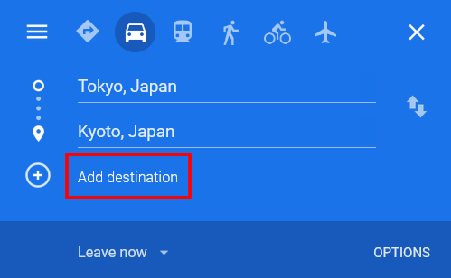 The navigation menu in Google Maps, with the 'Add destination' button outlined in red.