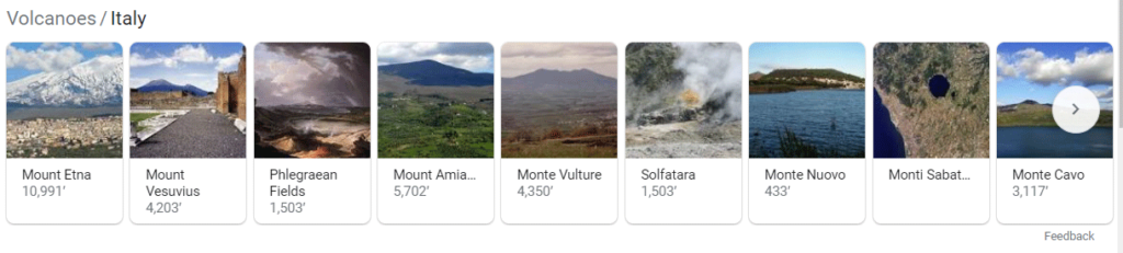 """Screenshot of an example of an image carousel showing up for the query """"volcanoes in italy."""""""
