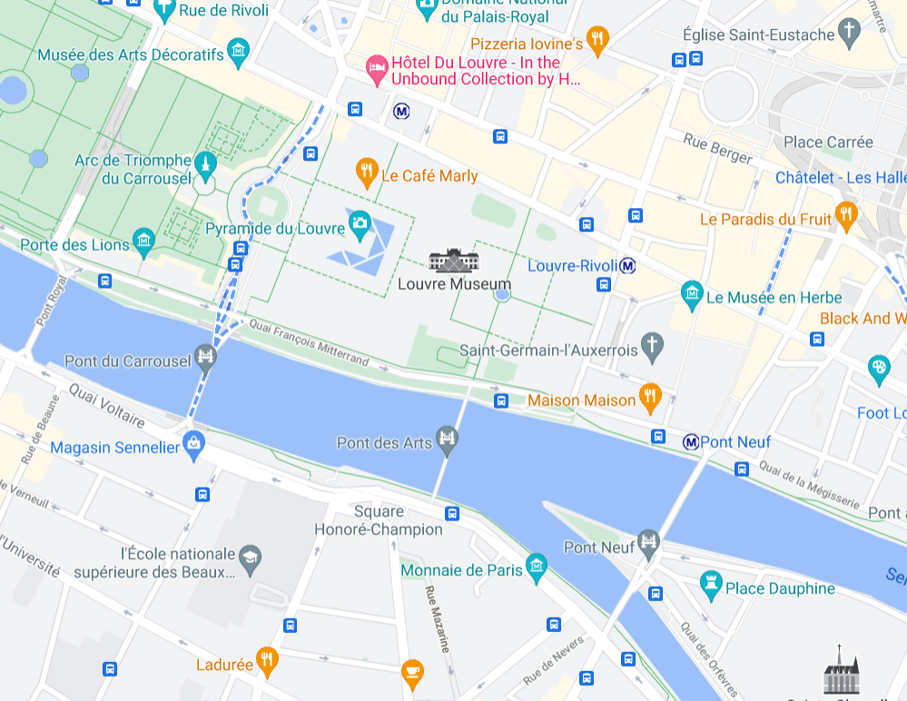 The Google Maps user interface with Paris' Louvre Museum in the center surrounded by multiple restaurants and landmarks.